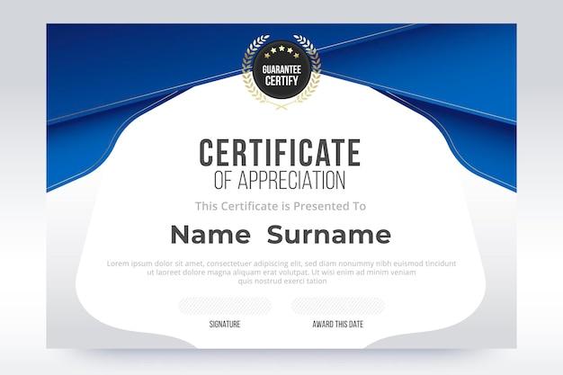 Gradiënt certificaat van waardering sjabloon. blauw en wit kleurverloopontwerp.