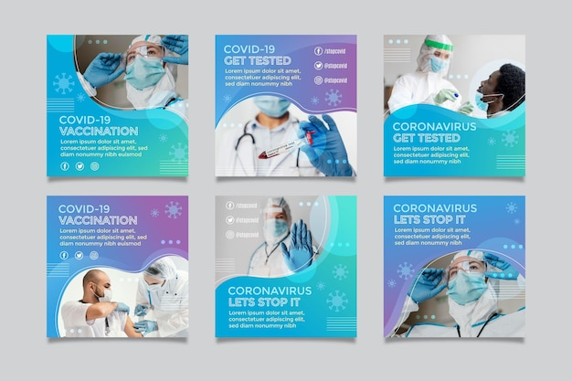 Gradient coronavirus instagram postverzameling