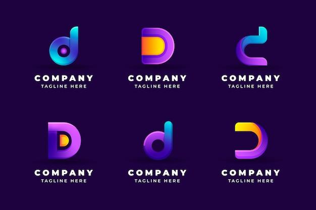Gradient d logo sjabloonverzameling
