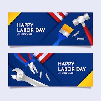 Gradiënt dag van de arbeid horizontale banners set