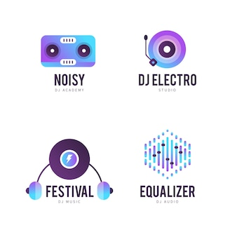 Gradient dj logo sjabloonverzameling