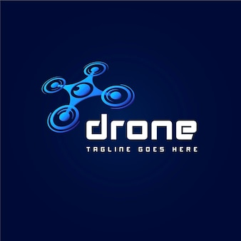 Gradient drone slogan logo sjabloon