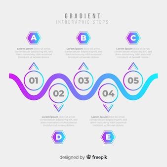 Gradiënt duotoon infographic stappen