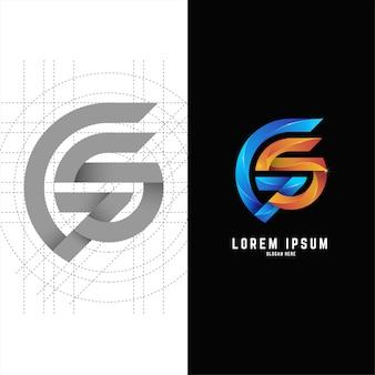 Gradiënt eerste gs of sg brief logo sjabloonontwerp