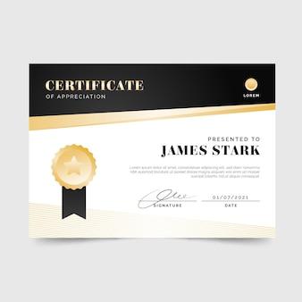 Gradiënt elegant certificaat met medaille