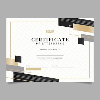 Gradient elegant certificaat van aanwezigheidsjabloon