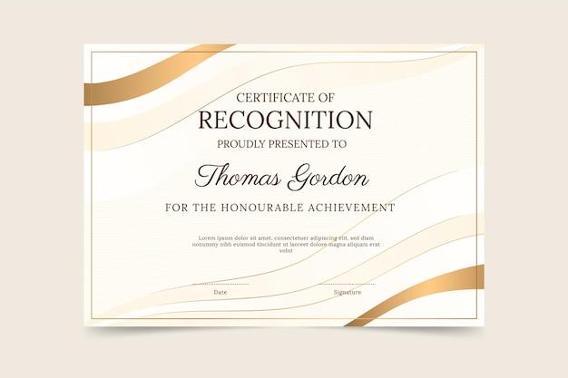 Gradiënt elegant certificaat van herkenningssjabloon