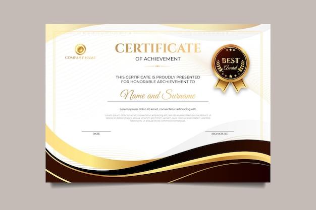 Gradiënt elegant certificaat van prestatie-sjabloon