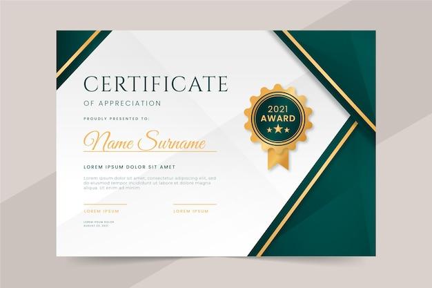 Gradiënt elegant certificaat van waardering sjabloon