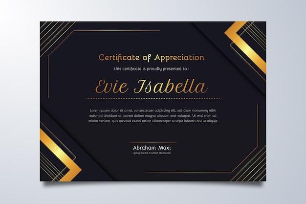 Gradiënt elegant certificaat van waardering