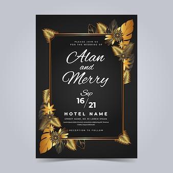 Gradiënt elegante gouden huwelijksuitnodigingen