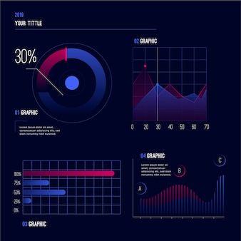 Gradient element collectie dashboard sjabloon