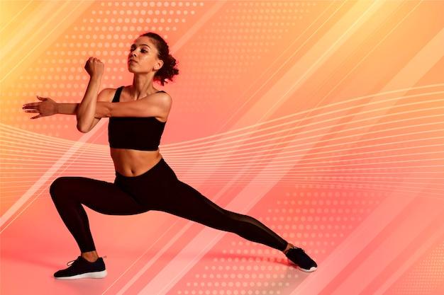 Gradiënt fitnessclub achtergrond met foto