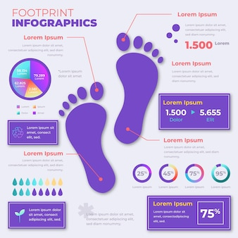 Gradient footprint infographics sjabloon
