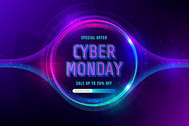 Gradiënt futuristische cyber maandag achtergrond