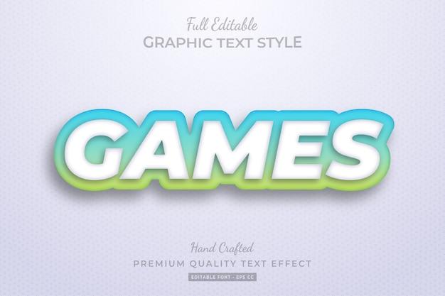 Gradient games bewerkbare 3d-tekststijleffect premium