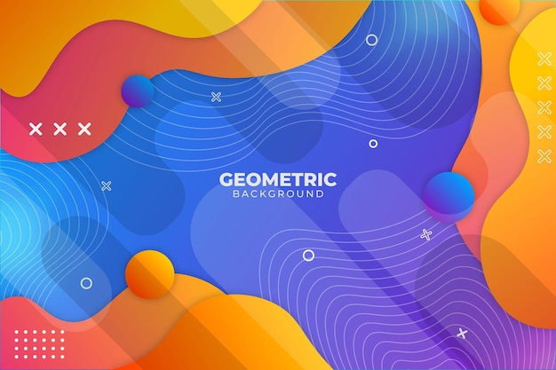 Gradient geometrische achtergrond blauw en oranje