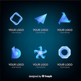 Gradient geometrische technologische logotype collectie