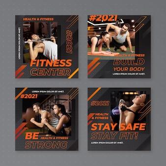 Gradiënt gezondheids- en fitnesspostset met foto