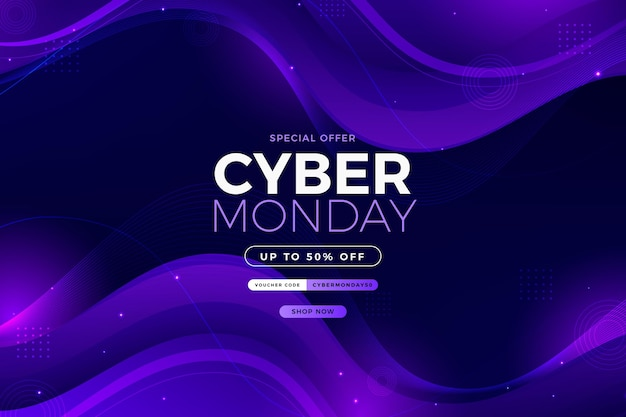 Gradiënt golvende cyber maandag achtergrond