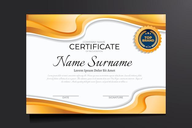 Gradiënt gouden certificaat