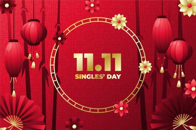 Gradiënt gouden en rode single's dag achtergrond