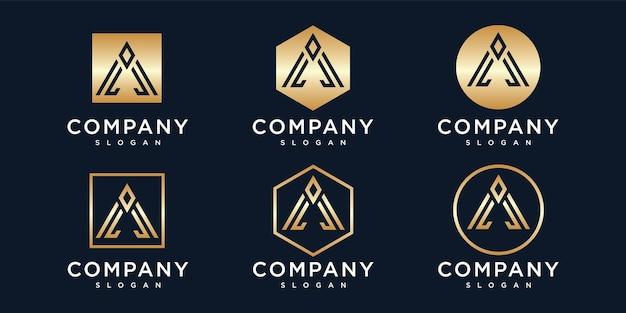 Gradiënt gouden letter een logo-collectie