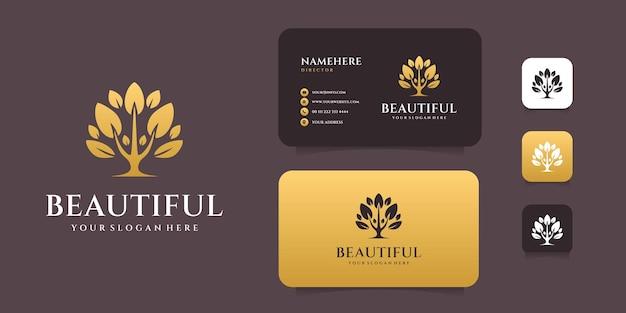 Gradiënt gouden levensboom logo-ontwerp met sjabloon voor visitekaartjes. logo kan worden gebruikt voor spa-, decoratie-, zaken-, merk- en pictogramcollecties