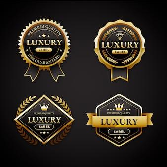 Gradiënt gouden luxe badges set