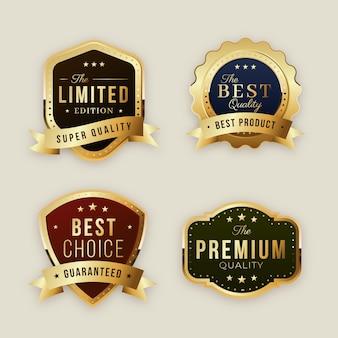Gradiënt gouden luxe badges