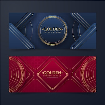 Gradiënt gouden luxe banners set