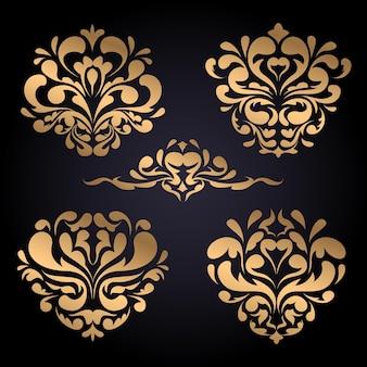 Gradiënt gouden luxe barokke ornamentset