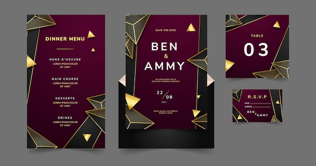 Gradiënt gouden luxe bruiloft briefpapier