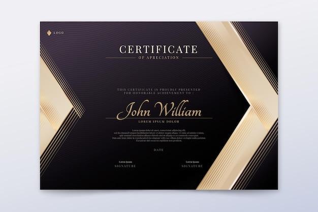 Gradiënt gouden luxe certificaat