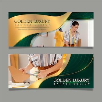 Gradiënt gouden luxe horizontale banners set met foto