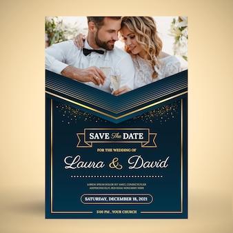 Gradiënt gouden luxe huwelijksuitnodiging met foto