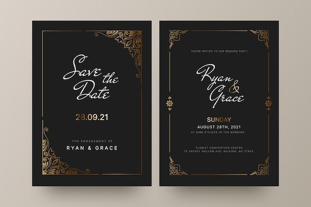 Gradiënt gouden luxe huwelijksuitnodiging