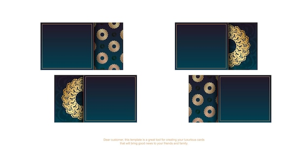 Gradiënt groen visitekaartje met grieks gouden patroon voor uw bedrijf.