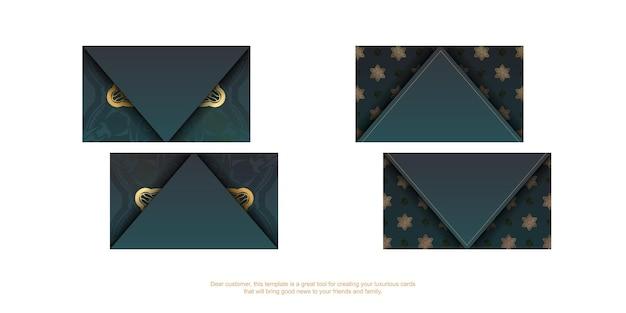 Gradiënt groen visitekaartje met indiase gouden ornamenten voor uw bedrijf.