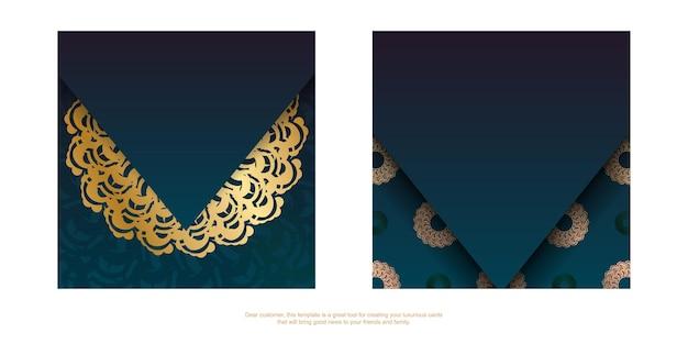 Gradiënt groene verloop flyer met vintage gouden ornamenten typografie-klaar.
