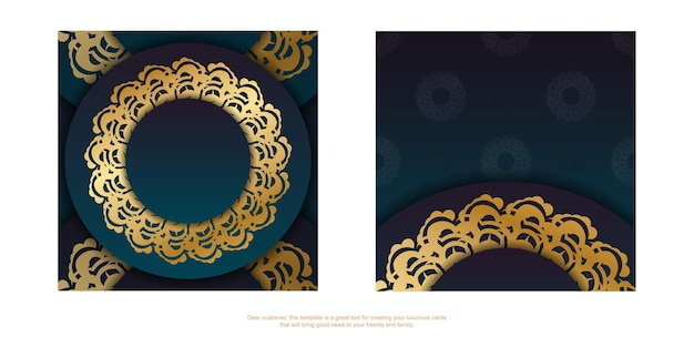Gradiënt groene verloop flyer met vintage gouden ornamenten voor uw merk.