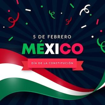 Gradient grondwet dag behang met mexicaanse vlag