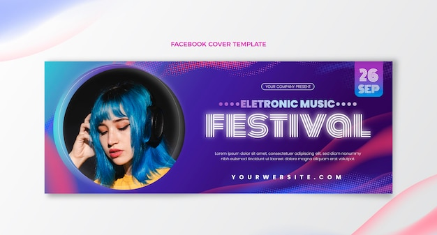 Gradient halftone muziekfestival facebook cover