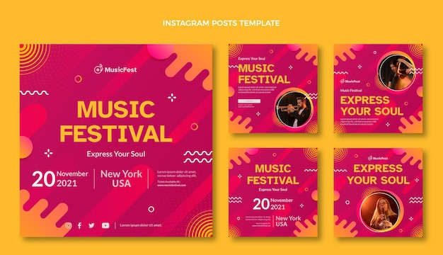 Gradient halftone muziekfestival ig post