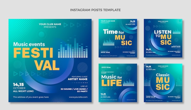 Gradient halftone muziekfestival instagram-berichten
