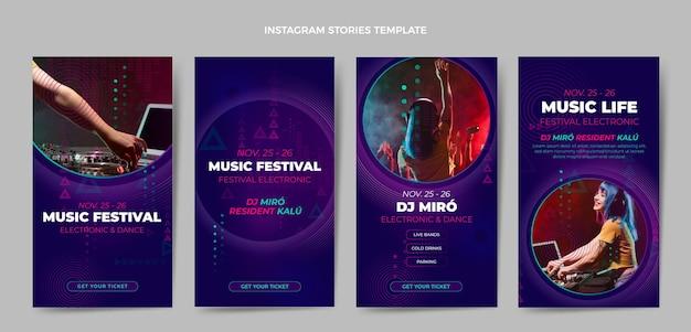 Gradient halftone muziekfestival instagramverhalen