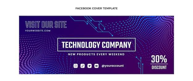 Gradient halftone technologie facebook omslag