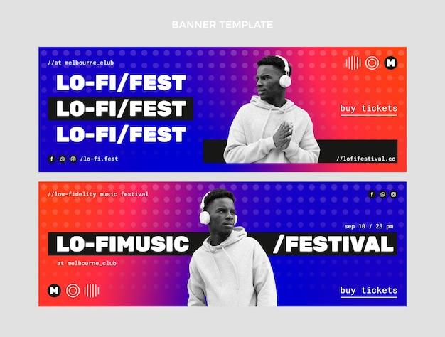 Gradiënt halftoon muziekfestival banners horizontaal