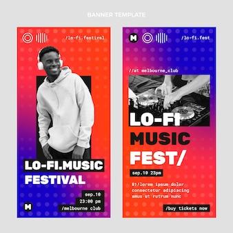 Gradiënt halftoon muziekfestival banners verticaal