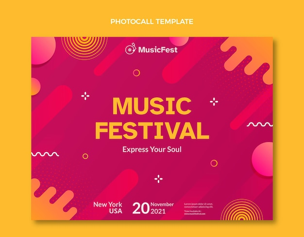 Gradiënt halftoon muziekfestival photocall